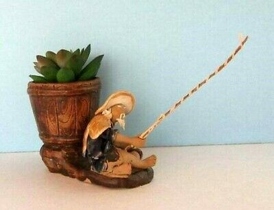 Ceramic Mudman fisherman figurine with barrel planter - Asian decor