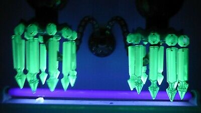 Antique Victorian Uranium Lustre Candle Chandelier Sconce Cut Cased Glass Gilt
