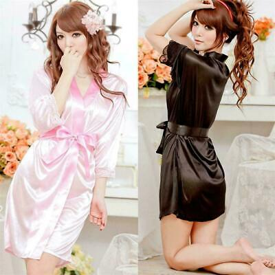 Womens Nightdress Satin Lace Kimono Sleepwear Lingerie Dressing Gown Robe F N0P3