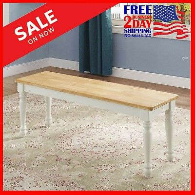 Farmhouse Bench for Dining Table Benches-Kitchen Room Wood Seat White Natural