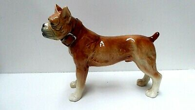 Vintage China Ceramic Bulldog Dog Statue Porcelain Figurine
