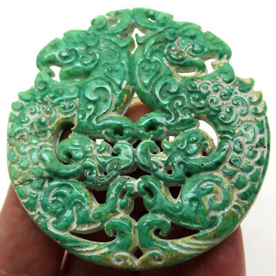 """P432 Ancient China Han Dynasty Old Jade Double-Sided Dragon Amulet Pendant 2.7"""""""