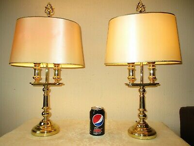Tall Pair Of Vintage Solid Brass French Bouillotte Table Lamps  +Vintage Shades
