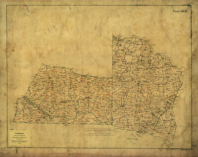Map of Mecklensburg - Brunswick and Greensville counties Virginia c1864 30x24