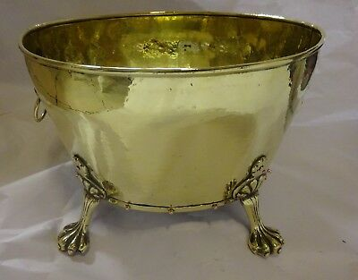 Antique Regency Style Brass Log/Coal/Plant Bucket With Copper Rivets Hammered