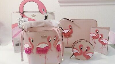 Kate Spade Flamingo By the pool, Pippa Bucket, Passport holder,Coin Purse,Camera
