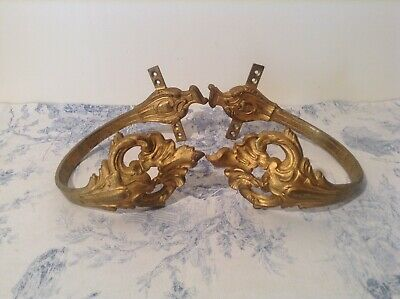 Vintage French Bronze Ormolu Chateau Curtain Tie Backs Hooks