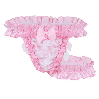 M Pink Mens Lace Frilly Satin Ruffled High-cut Underwear Sissy bloomers Garter