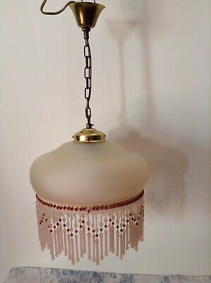 Vintage French Glass Pendant Ceiling Light, Beaded Droplets