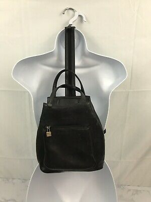 Koltov Black Small Leather Travel Backpack Shoulder Bag Purse Adjustable Strap