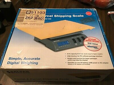 Salter Brecknell 335 Electronic Portable USB Scale 35 lb x 0.2 oz, Gray, NEW