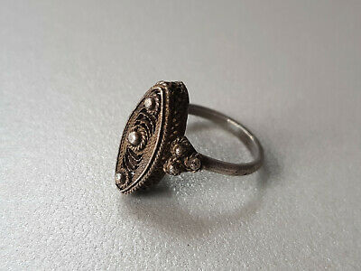 GORGEOUS ANTIQUE HAND MADE SILVER FILIGREE REGAL RING late 19th C. VTG - RARE