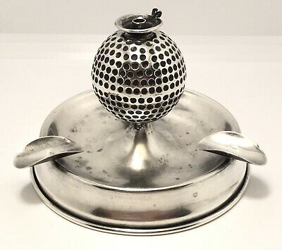 Antique Herbst & Wassall Sterling Silver Figural Golf Ball Lighter Ashtray Combo