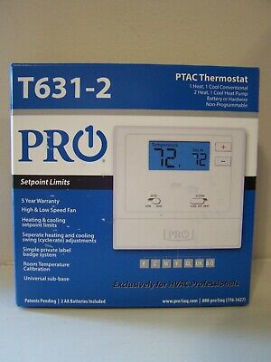 Brand New PRO1 IAQ T631-2 Wired PTAC Non-Programmable Thermostat In Box