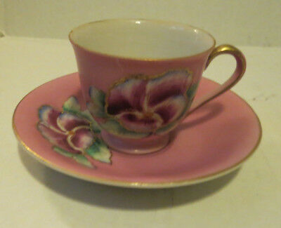 Vintage Merit Made In Occupied Japan Tea Cup And Saucer Design Flowers Pink