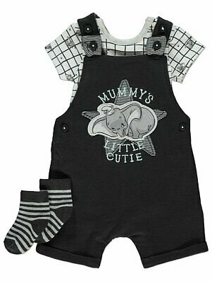 Disney Baby Boy Dumbo Dungarees Bodysuit and Socks Outfit. Newborn to 18 months.