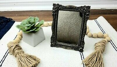 Vintage Antique Cast Iron Ornate Victorian Mirror with Stand Small 4.5''- 6""