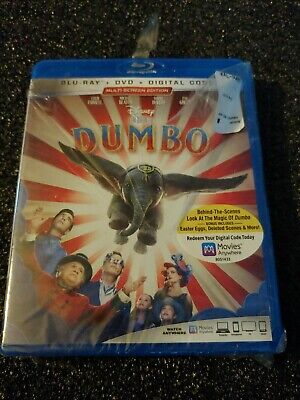 Dumbo ( Blu-Ray + DVD + Digital  Code ) Factory Sealed Torn Plastic Wrap