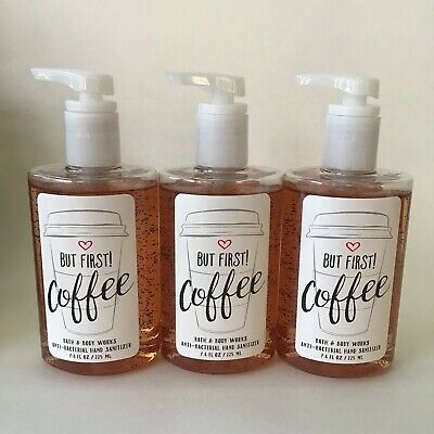 Bath & Body Works But First Coffee Pump Full Size Hand Sanitizer 7.6 oz x3