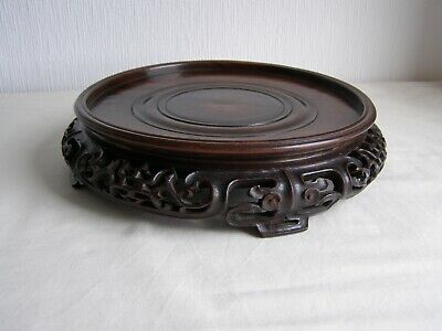 Antique Chinese carver hard wood vase stand to fit foot rim up to 18 cm diameter