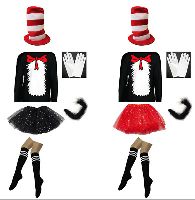 Dr Seuss Cat in the Hat Book week Costume Top Hat Tutu Sparkle Socks Bow Tie Top