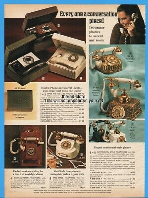 1969 Telephones Hidden Chest Continental French Mod Early American Phone Pic Ad