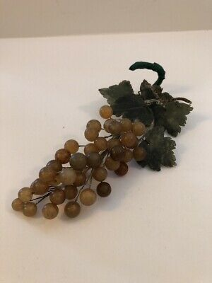 Vintage Carnelian Grape Cluster Jade Leaves Polished Semi-Precious Stone