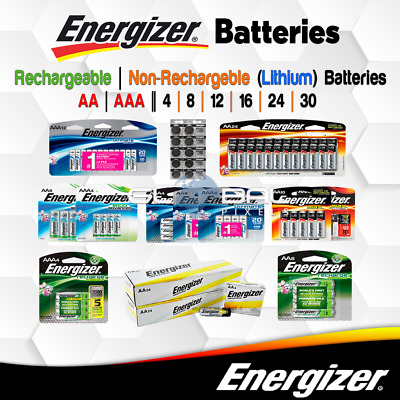 Energizer Battery 4 8 12 48 AA AAA lot Rechargeable / Non-Rechargeable Batteries