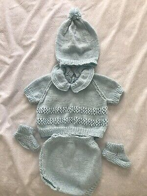 Hand Knitted Baby Girl or Boy Romper Pram Set Outfit  3 Months