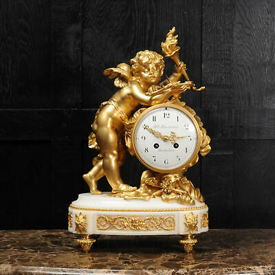 Superb Antique French Ormolu And White Marble Clock - Cupid