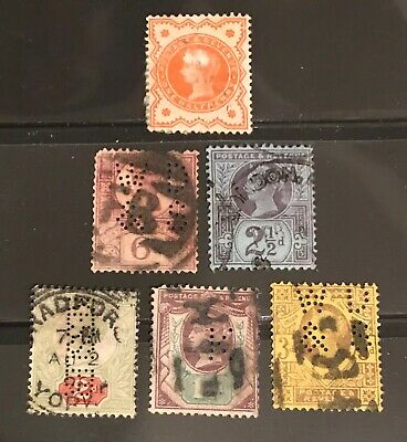 Great Britain postage stamps lot of 6 old Queen Victoria       Ju