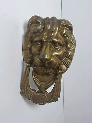 VTG Antique Brass Lion Head Door Knocker with Patina Made In Italy