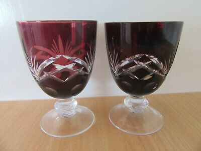 Two Beautiful Ruby Glass/Crystal Cut To Clear Small Goblets