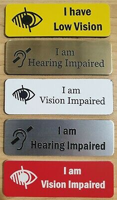 Name Badges - with Vision impaired or Hearing impaired available incl.attachment