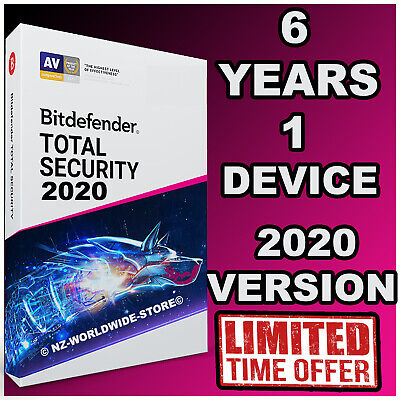Bitdefender Total Security 2020 -  6 Years 1 Device Activation - Download