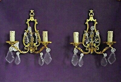 Pair of Beautiful Vintage French Open Back Double Crystal Wall Sconces 1010