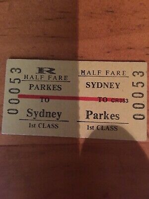NSW Railway Ticket - Parkes First Class