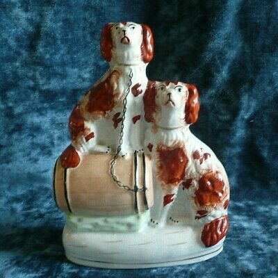 SUPERB 19thC STAFFORDSHIRE RUSSET RED & WHITE SPANIEL DOGS & BARREL c1880s