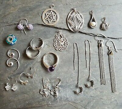 Mixed Job Lot Sterling Silver Jewellery New And Vintage
