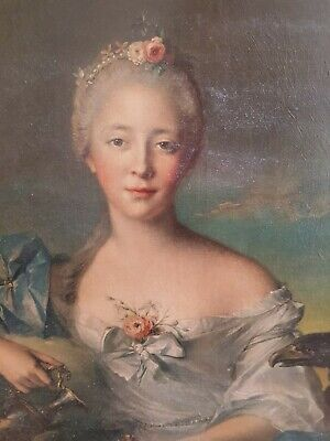 Vintage print French lady in ornate frame