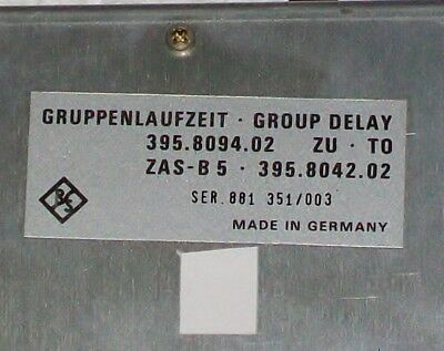 ROHDE RHODE SCHWARZ R&S ZAS-B5 opt. GROUP DELAY GRUPPENLAUFZEIT scalar analyzer