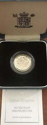ROYAL MINT Cased Silver Proof UK 2003 One Pound Royal Arms Coin with COA.