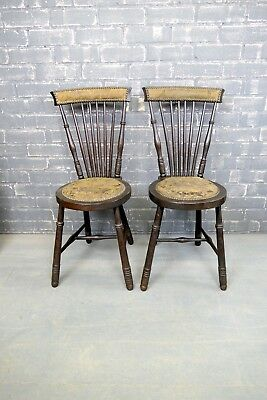 Antique kitchen chairs, hallway chair, rustic, oak spindle back chair, turned