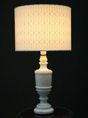 Heavy antique marble carved vase shaped column lamp base Vintage 1930's &  shade