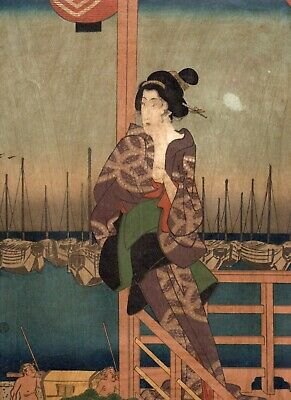 Orig Japanese Woodblock Print Ukiyo-e woman picture Multiple boats in the harbor