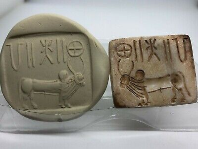(40 mm)Old Unique BULL Seal Intaglio & Indus valley inscription stone stamp Rare