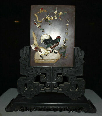 "19"" Old China Black Ebony Wood Shell Jade Dynasty Rooster Cock Folding Screen"