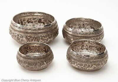 Set of Four Vintage Burmese Silver Bowls with Chinese Zodiac Animal Decoration