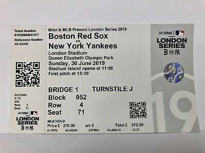 MLB LONDON SERIES 2019 BOSTON RED SOX NY YANKEES Unused Ticket, Mint Condition!!