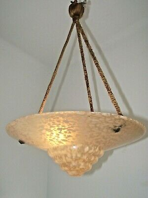 French Vintage Pink Mottled Art Glass Ceiling Light Original Ropes & Rose 1198
